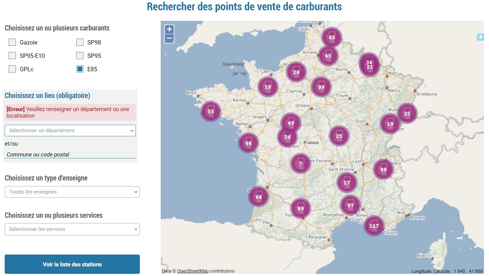 Carte de France des stations essence E85
